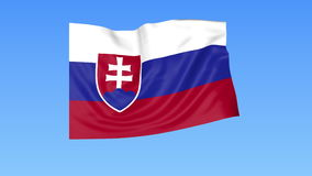 Waving flag of Slovakia, seamless loop. Exact size, blue background. Part of all countries set. 4K ProRes with alpha. Flapping flag of Slovakia, blue background stock illustration