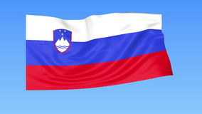 Waving flag of Slovenia, seamless loop. Exact size, blue background. Part of all countries set. 4K ProRes with alpha. Flapping flag of Slovenia, blue background stock illustration