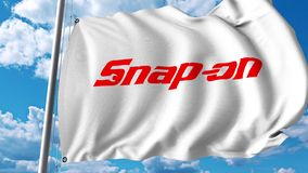 Waving flag with Snap-On logo. 4K editorial animation. Waving flag with Snap-On logo. 4K editorial clip royalty free illustration
