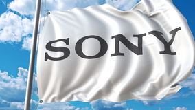 Waving flag with Sony logo against sky and clouds. Editorial 3D rendering. Waving flag with Sony logo against sky and clouds. Editorial 3D Royalty Free Stock Images