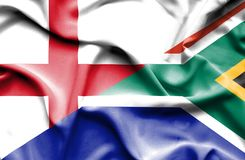 Waving flag of South Africa and England
