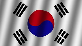 Waving  flag of South Korea . Animation. Footage. Background.