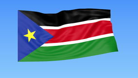 Waving flag of South Sudan, seamless loop. Exact size, blue background. Part of all countries set. 4K ProRes with alpha. Flapping flag of South Sudan, blue stock illustration