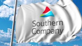 Waving flag with Southern Company logo. 4K editorial animation. Waving flag with Southern Company logo. 4K editorial clip royalty free illustration