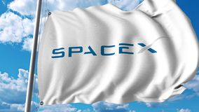 Waving flag with Spacex logo. 4K editorial animation. Waving flag with Spacex logo. 4K editorial clip royalty free illustration