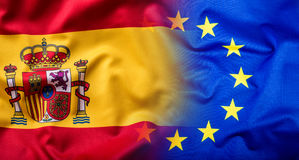 Waving flag of Spain and European Union.Eu Flag Spain Flag Royalty Free Stock Photos