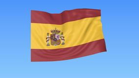 Waving flag of Spain, seamless loop. Exact size, blue background. Part of all countries set. 4K ProRes with alpha. Flapping flag of Spain, blue background stock illustration