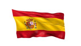 Waving flag of Spain on white. Waving flag of Spain on a white background, 3d animation stock footage