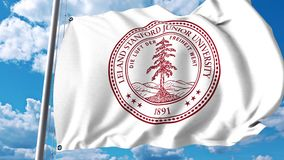 Waving flag with Stanford University emblem. 4K editorial clip