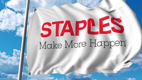 Waving flag with Staples Inc logo. 4K editorial animation. Waving flag with Staples Inc logo. 4K editorial clip stock illustration