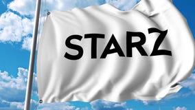 Waving flag with Starz logo. 4K editorial animation. Waving flag with Starz logo. 4K editorial clip vector illustration