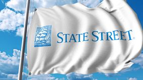 Waving flag with State Street Corporation logo. 4K editorial animation. Waving flag with State Street Corporation logo. 4K editorial clip stock video footage