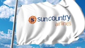 Waving flag with Sun Country Airlines logo. 3D rendering Stock Photo