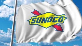 Waving flag with Sunoco logo. 4K editorial animation. Waving flag with Sunoco logo. 4K editorial clip vector illustration