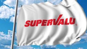 Waving flag with Supervalu logo. 4K editorial animation. Waving flag with Supervalu logo. 4K editorial clip vector illustration