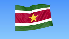 Waving flag of Suriname, seamless loop. Exact size, blue background. Part of all countries set. 4K ProRes with alpha. Flapping flag of Suriname, blue background royalty free illustration