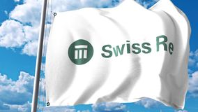 Waving flag with Swiss Reinsurance Company logo against clouds and sky. Editorial 3D rendering Stock Photo