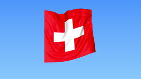 Waving flag of Switzerland, seamless loop. Exact size, blue background. Part of all countries set. 4K ProRes with alpha. Flapping flag of Switzerland, blue stock illustration