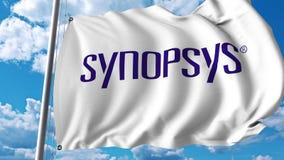 Waving flag with Synopsys logo. 4K editorial animation. Waving flag with Synopsys logo. 4K editorial clip royalty free illustration