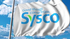 Waving flag with Sysco Corporation logo. 4K editorial animation. Waving flag with Sysco Corporation logo. 4K editorial clip stock illustration