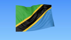 Waving flag of Tanzania, seamless loop. Exact size, blue background. Part of all countries set. 4K ProRes with alpha. Flapping flag of Tanzania, blue background stock illustration