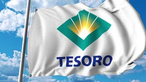 Waving flag with Tesoro logo. 4K editorial animation. Waving flag with Tesoro logo. 4K editorial clip vector illustration