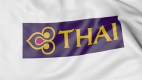 Waving flag of Thai Airways editorial 3D rendering. Waving flag of Thai Airways editorial 3D royalty free illustration