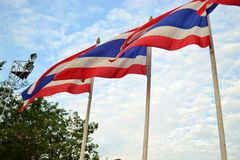 Waving flag of thailand. With clear sky Stock Photography