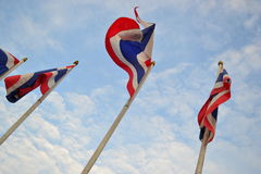 Waving flag of thailand with clear sky. Thai nationality flag with clear sky Stock Photo