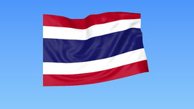 Waving flag of Thailand, seamless loop. Exact size, blue background. Part of all countries set. 4K ProRes with alpha. Flapping flag of Thailand, blue background stock illustration