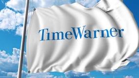 Waving flag with Time Warner logo. 4K editorial animation. Waving flag with Time Warner logo. 4K editorial clip vector illustration