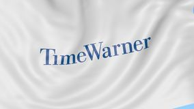 Waving flag with Time Warner logo. Seamles loop 4K editorial animation