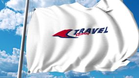 Waving flag with Travel Service Airline logo. 4K editorial clip. Waving flag with Travel Service Airline logo. 4K editorial animation stock video footage