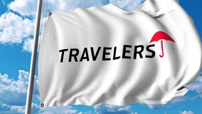Waving flag with The Travelers Companies logo. 4K editorial animation. Waving flag with The Travelers Companies logo. 4K editorial clip royalty free illustration