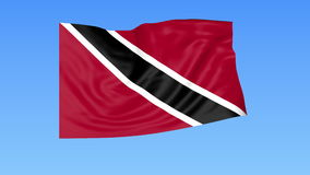 Waving flag of Trinidad and Tobago, seamless loop. Exact size, blue background. Part of all countries set. 4K ProRes. Flapping flag of Trinidad and Tobago, blue stock video