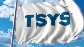 Waving flag with Tsys logo. 4K editorial animation. Waving flag with Tsys logo. 4K editorial clip stock illustration