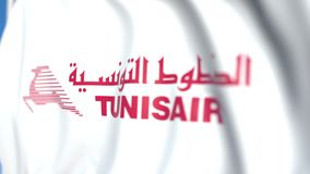 Waving flag with Tunisair logo, close-up. Editorial loopable 3D animation royalty free illustration