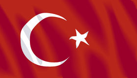 Waving flag of Turkey. Turkish wavy flag. Available in Vector format Stock Photo