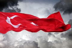 Waving flag of Turkey Stock Photo