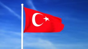 Waving flag of Turkey on the blue sky background. 3D rendered stock video