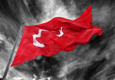 Waving flag of Turkey with flagpole Royalty Free Stock Photos
