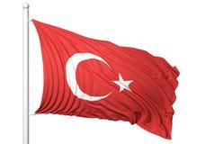 Waving flag of Turkey on flagpole Royalty Free Stock Images