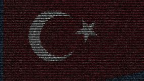 Waving flag of Turkey made of text symbols on a computer screen. Conceptual loopable animation. Waving flag made of symbols on a computer screen stock footage