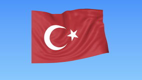 Waving flag of Turkey, seamless loop. Exact size, blue background. Part of all countries set. 4K ProRes with alpha. Flapping flag of Turkey, blue background royalty free illustration