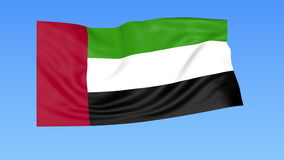 Waving flag of UAE, seamless loop. Exact size, blue background. Part of all countries set. 4K ProRes with alpha stock footage