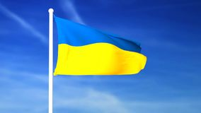 Waving flag of Ukraine on the blue sky background. 3D rendered stock video
