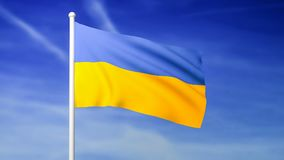 Waving flag of Ukraine on the blue sky background. 3D rendered stock video footage