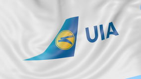Waving flag of Ukraine International Airlines against blue sky background, seamless loop. Editorial 4K animation stock video footage