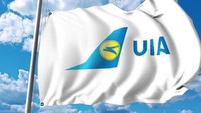 Waving flag with Ukraine International Airlines logo. 4K editorial clip. Waving flag with Ukraine International Airlines logo. 4K editorial animation stock video
