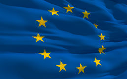 Waving flag of United Europe. Fluttering flag of United Europe on the wind Stock Images